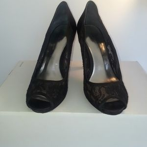 Style & Co. Black Satin and Lace Peep Toe Pumps 9M